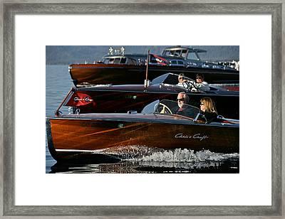 Lake Tahoe Speedboats Framed Print by Steven Lapkin