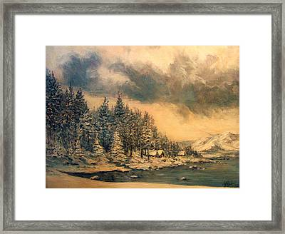 Framed Print featuring the painting Lake Tahoe Winter Colors 2 by Donna Tucker