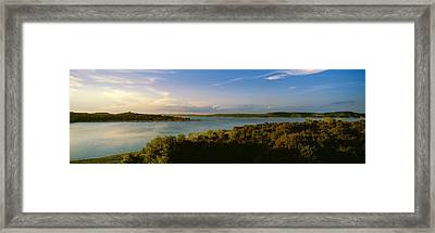 Lake Travis At Dusk, Austin, Texas, Usa Framed Print
