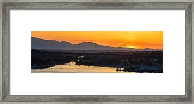 Lake Union Cascades Mountains Sunset Glow Framed Print by Mike Reid