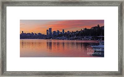 Lake Union Dawn Framed Print by Mike Reid