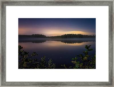 Lake View At Night Framed Print by Teemu Tretjakov