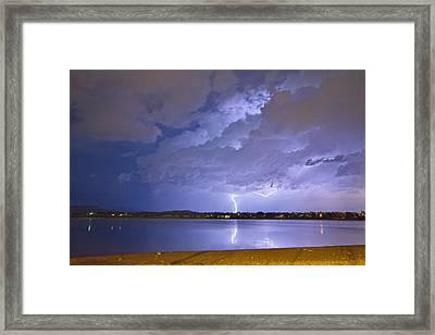 Lake View Lightning Thunderstorm Framed Print