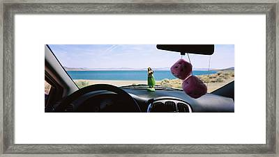 Lake Viewed Through The Windshield Framed Print by Panoramic Images