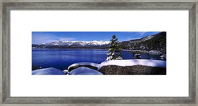 Lake With A Snowcapped Mountain Range Framed Print by Panoramic Images