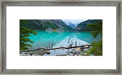 Lake With Canadian Rockies Framed Print