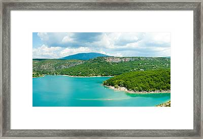 Lake With Mountain In The Background Framed Print