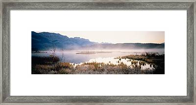 Lake With Mountains In The Background Framed Print