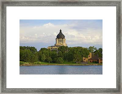 Lake With View Of South Dakota State Framed Print