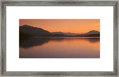 Lake Zug In The Evening Mt Rigi & Mt Framed Print