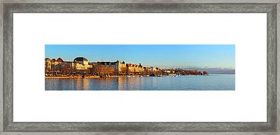 Framed Print featuring the photograph Lake Zurich Panorama by Marc Huebner