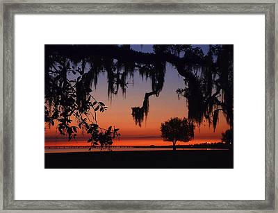 Lakefront Sunset Framed Print