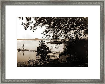 Lakefront With Steam Yachts At Pier, Saratoga Lake Framed Print