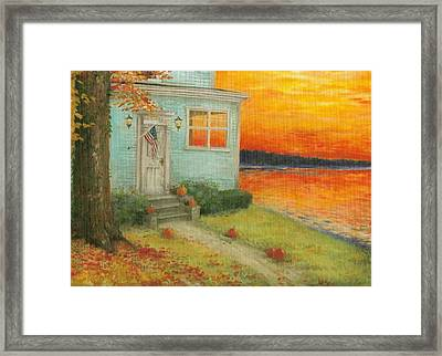 Lakehouse Fall Nocturne Framed Print