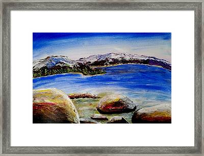 Framed Print featuring the painting Lakeshore Boulders by Carol Duarte