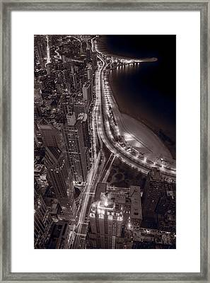 Lakeshore Drive Aloft Bw Warm Framed Print by Steve Gadomski