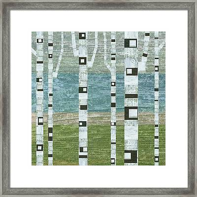 Lakeside Birches Framed Print by Michelle Calkins