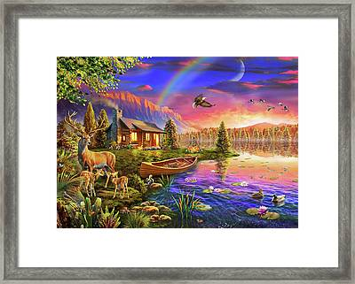 Framed Print featuring the drawing Lakeside Cabin  by Adrian Chesterman