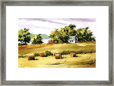 Lakeside Hay Framed Print by Art Scholz