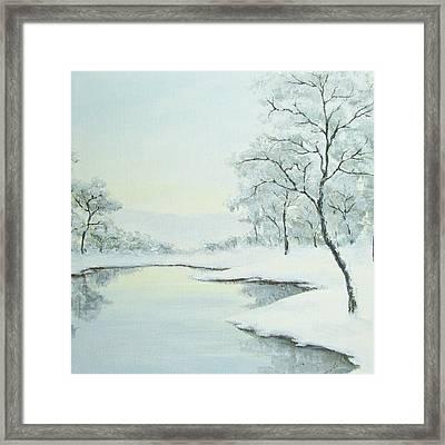 Lakeside In Winter Framed Print by Anna Bronwyn Foley