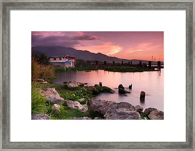 Lakeside Shanty At Dusk Framed Print