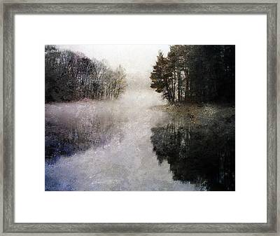 Framed Print featuring the digital art Lakeside Trees by Bruce Rolff