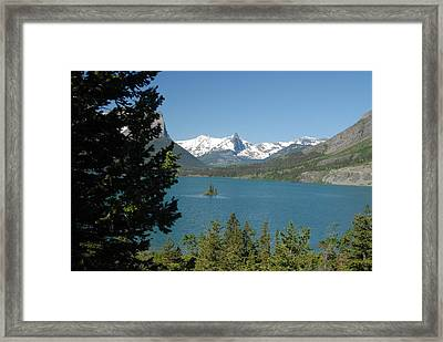 Lakeview In Glacier National Park Framed Print by Larry Moloney