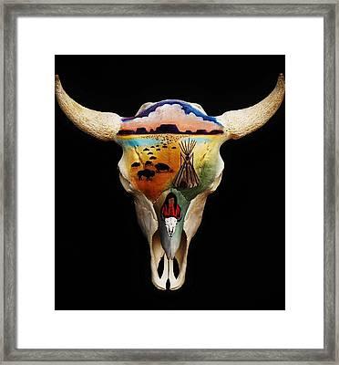 Lakota Bison Skull Framed Print