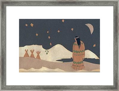 Lakota Woman With Winter Constellations Framed Print by Dawn Senior-Trask
