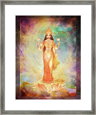 Lakshmi Floating In A Galaxy Framed Print by Ananda Vdovic