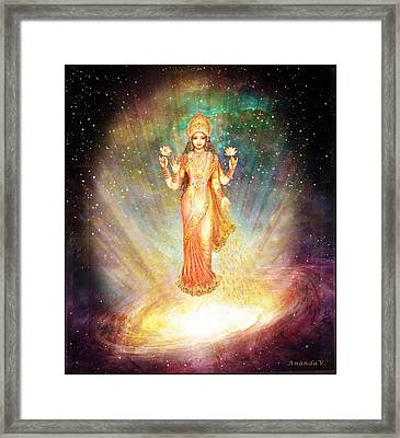 Lakshmi Goddess Of Abundance Rising From A Galaxy Framed Print by Ananda Vdovic