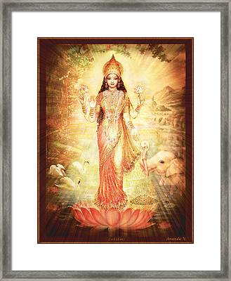Lakshmi Goddess Of Fortune Vintage Framed Print