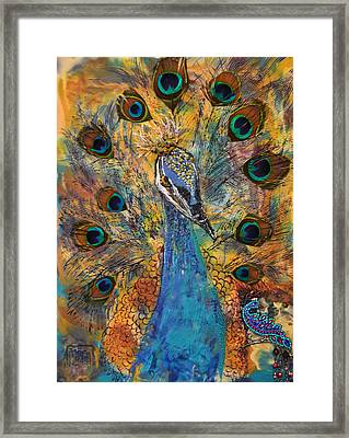 Lakshmi Peacock Framed Print by Sally Clark