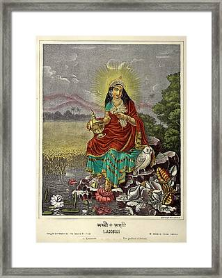Lakshmi The Goddess Of Fortune Framed Print by British Library