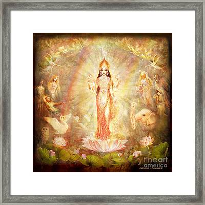Lakshmi With Angels And Muses Framed Print