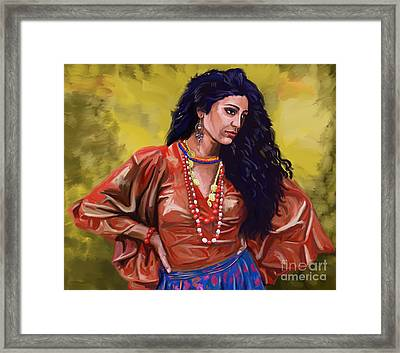 Framed Print featuring the painting Lala Gypsy Girl by Tim Gilliland