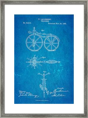 Lallement Cycle Patent Art Blueprint 1866 Framed Print by Ian Monk