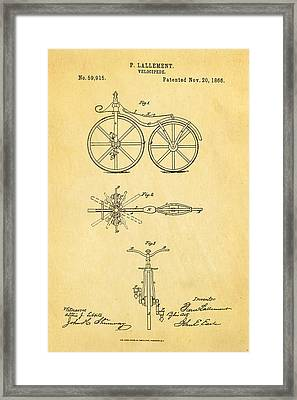 Lallement Cycle Patent Art1866 Framed Print by Ian Monk