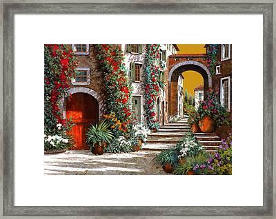 L'altra Porta Rossa Al Tramonto Framed Print by Guido Borelli