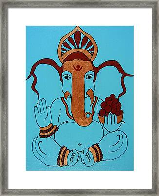 19 Lambakarna-large Eared Ganesha Framed Print by Kruti Shah