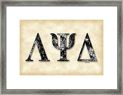 Lambda Psi Delta - Parchment Framed Print by Stephen Younts