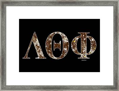 Framed Print featuring the digital art Lambda Theta Phi - Black by Stephen Younts