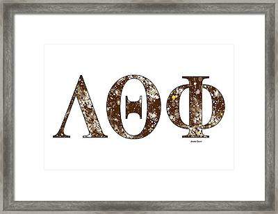 Framed Print featuring the digital art Lambda Theta Phi - White by Stephen Younts