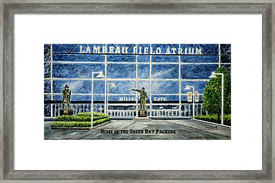 Framed Print featuring the painting Lambeau by Thomas Kuchenbecker