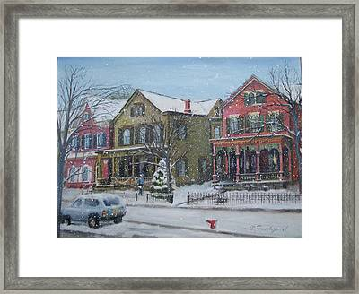 Lambertville In The Snow Framed Print by Oz Freedgood
