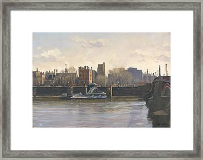 Lambeth Palace Oil On Canvas Framed Print by Julian Barrow