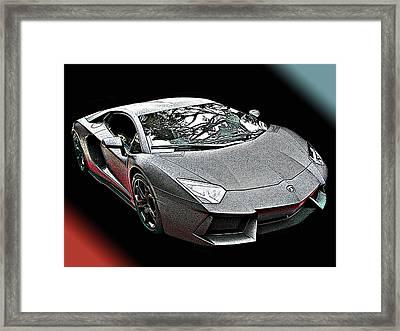 Lamborghini Aventador In Matte Black Finish Framed Print