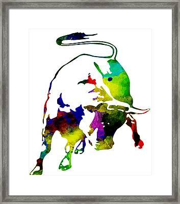 Lamborghini Bull Emblem Colorful Abstract. Framed Print