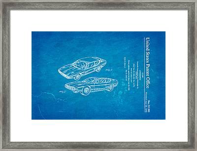 Lamborghini Espada Design Patent Art 1970 Blueprint Framed Print by Ian Monk