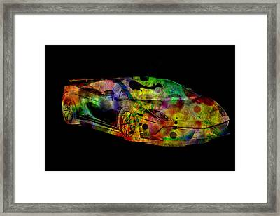 Lamborghini Gallardo Colorful Abstract On Black Background Framed Print by Eti Reid